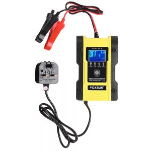 FOXSUR 7-Stages 12V 6A 24V 3A Battery Charger Touch Screen LCD Display Pulse Repair Automatic For Car Motorcycle Electric Scooter Lead-Acid Agm Gel Wet Lithium LiFePO4 Batteries