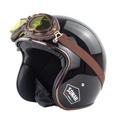SOMAN Retro Half Face Helmet Safety Motorcycle Scooter Vintage Motorcycles Helmett Riding For Men And Women With Free Goggles