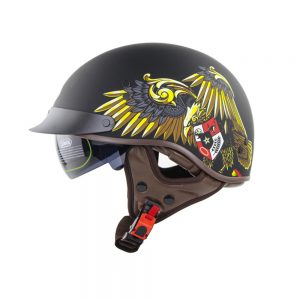SOMAN SM202 Vintage Retro Half Face Motorcycle Helmet Electric Scooter Riding Cruise Safety Helmets With Inner Sun Visor