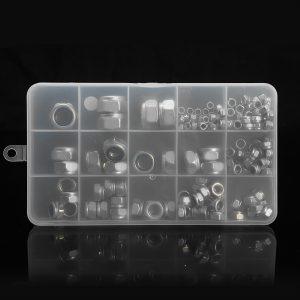 170Pcs Stainless Steel Lock Nut Assortment M3/4/5/6/8/10/12 Nylon Insert Kit