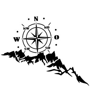 65x35cm Sticker Body Hood Vinyl Decal Compass W/ Mountains For Camper Motorhome Boat