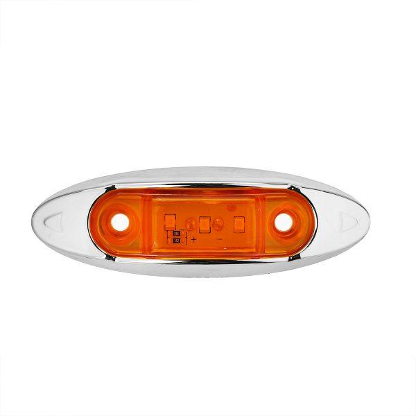 10Pcs Yellow 3LED 24V Side Marker Indicator Light Clearance Lamp Truck Trailer Lorry Van