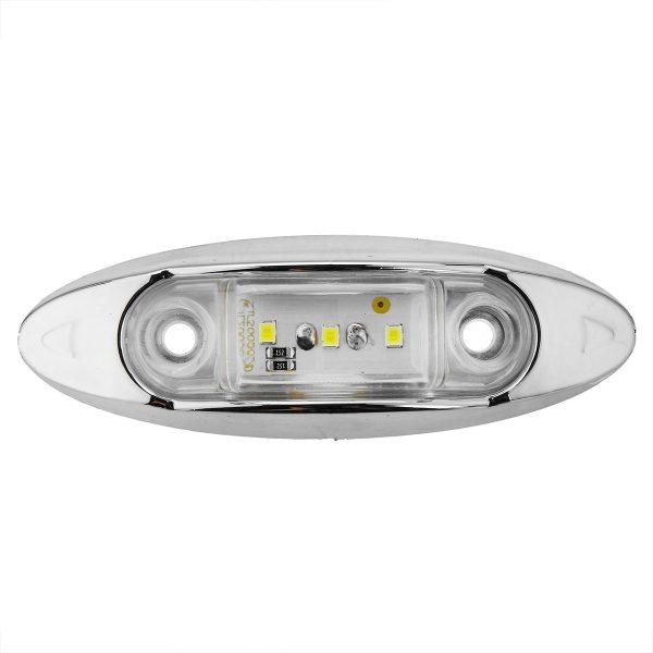 6Pcs White 3LED 24V Side Marker Indicator Light Clearance Lamp Truck Trailer Lorry Van