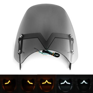 """Universal LED Front Fairing Windshield Motorcycle Windscreen Fitting 5-7″ Round Headlight"""""""
