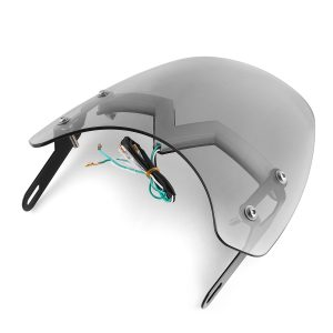 """Universal 5-7"""" Smoke Round Headlight Front Fairing Motorcycle Windshield Windscreen With LED"""