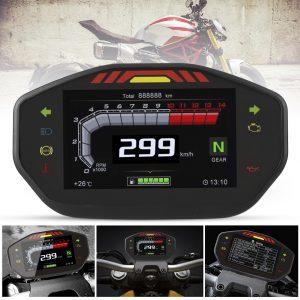 14000RPM Motorcycle TFT LCD Display Digital Speedometer Odometer 6 Gear Backlight Meter For 1 2 4 Cylinders Universal