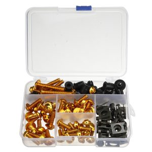 177pcs Motorcycle Fairing Bumpers Panel Bolts Kit Body Fastener Clips Screw Set Universal