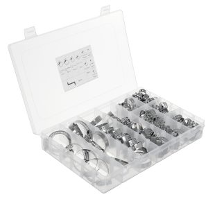 91Pcs Assorted Stainless Steel Hose Clamp Kit With No Driver Clips Set