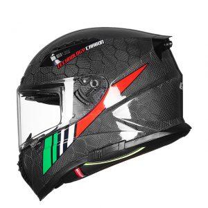 GXT 12K Carbon Fiber Double Lens Snake Pattern Moto Motorcycle Full Face Helmet Antifogging Ventilation Men And Women Four Seasons DOT Certification 602