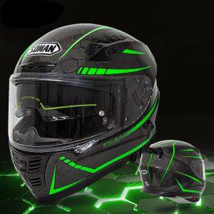 SOMAN 24K Carbon Fiber Fluorescent Motorcycle Helmet Full Face Moto Casco Motor bike Racing Casque Cycling Capacete SOMAN X7