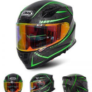 SOMAN 24K Carbon Fiber Fluorescent REVO Len Motorcycle Helmet Full Face Moto Casco Motor bike Racing Casque Cycling Capacete SOMAN X7
