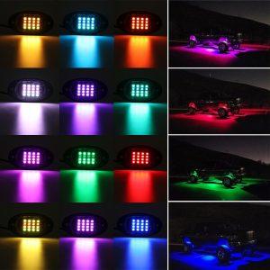 6Pcs RGB LED Rock Light Under Body Car Offroad Truck Wireless Dual Remote 12V