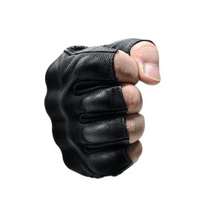 WUPP Motorcycle Half Finger Leather Riding Gloves Breathable Off-Road Racing Sport Black Fingerless Gloves