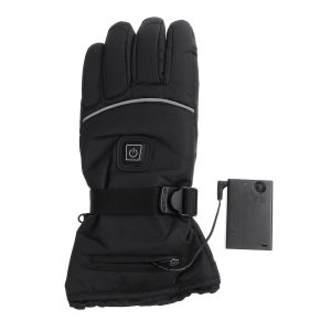 45-55 Electric Heated Gloves Touch Screen With 2 Battery Box Warmer Black Waterproof