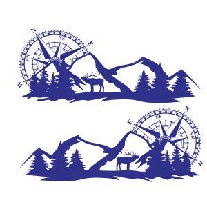 2pcs Set Body Sticker Decal Large Compass Navigation W/Mountain Deer For Camper Van Motorhome Boat Motorcycle Decoration