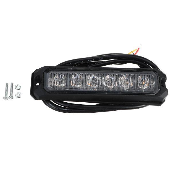12V-24V 6 LED Aluminum Amber Waterproof IP67 Flash Light Side Strobe Warning Lamp For Car Truck Motorcycle