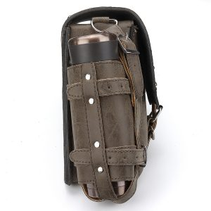Motorcycle Studded Saddlebag pu leather Tool Panniers Bag W/ Fuel Oil Bottle Holder Motorbike