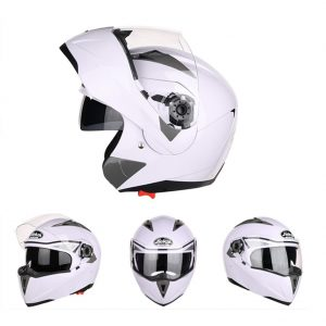 JIEKAI JK105 Motorcycle Helmet Flip Up Unveiled Headpiece With Double Lens Electric Bike Men Anti-Fog All Seasons Helmets