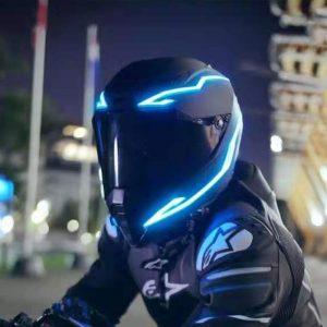 Motorcycle Helmet LED Light Strip Signal Night Safety Riding Lights Waterproof