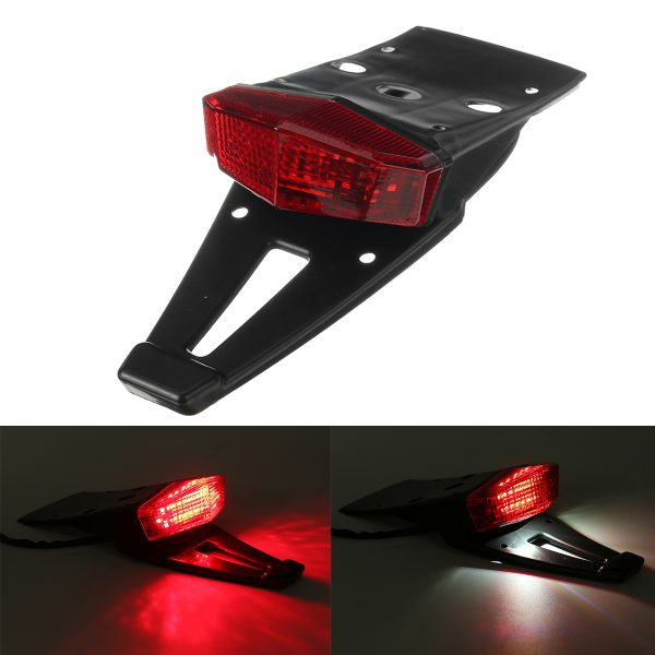 12V Motorcycle Integrated LED Rear Fender Driving Brake Stop Motorcross Tail Light Red