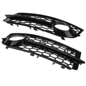 Front Fog Light Lamp Grille Grill Cover Honeycomb Hex RS Style Glossy Black For Audi TT 8J 2006-2014