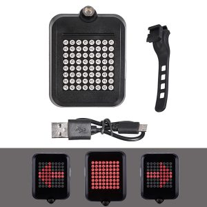 64 LED Intelligent Bicycle Tail Light Red Cycling Light Turn Signals Rear Light USB Rechargeable Bike Lantern