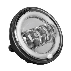 """Motorcycle 7 LED Projector Headlight + 4.5″ Passing Auxiliary Light With Aperture White And Yellow Bicolor"""""""
