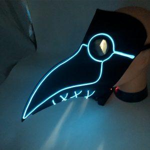 Woodpecker LED Doctor Plague Mask LED Illuminate Glow Halloween Mask Cosplay