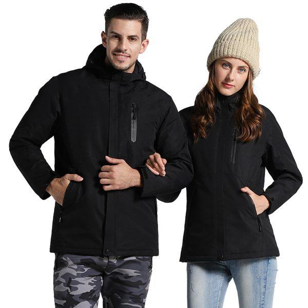 Man Woman Electronic USB Heated Jacket Intelligent Heating Hooded Work Motorcycle Skiing Riding Coat