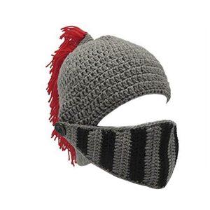 Mens Winter Crochet Knit Beanie Hats Roman Knight Helmet Face Mask Ski Cap Party