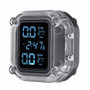 Waterproof Motorcycle Real Time Tire Pressure Monitoring System Wireless LCD Display