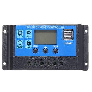10/20/30A 12/24V LCD Dual USB Solar Panel Battery Regulator Charge Controller