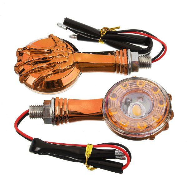 Pair Chrome Skull Skeleton LED Turn Signal Indicator Light For Davidson