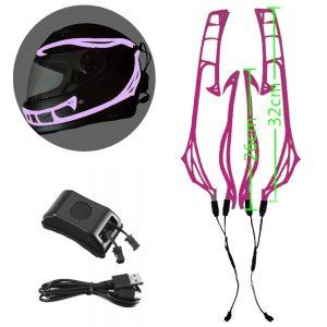 4-in-1 Motorcycle Helmet LED Luminous Sticker Night Riding Cold Light Signal Flashing Strip Helmet Universal Strip USB Charger