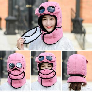 Men Women Winter Bomber Hats With Face Mask Plush Earflap Russian Ushanka with Goggles Warmer Windproof Thicken
