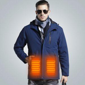 Man Electronic USB Heated Jacket Intelligent Heating Hooded Work Motorcycle Skiing Riding Coat