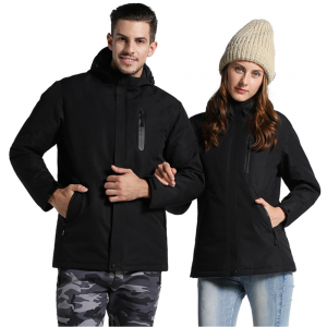 Men Women Electric Heated Jackets Constant Temperature USB Heating Clothes Winter Thicken Windproof Warm Hooded Coats Motorcycle Riding Bicycle Outdoor Skiing Hiking Waterproof Thermal Jackets