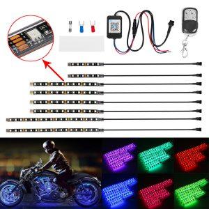 8PCS Motorcycle bluetooth App LED Light Strip Kit Remote Control Flashing Lamp