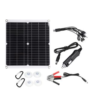 18V 50W PV Solar Panel Charger Kit Monocrystalline Solar Panels with 10 In 1 Adapter Cable
