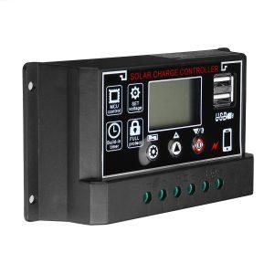 10A/20A/30A/40A/50A/60A 12V/24V Dual USB LCD Solar Panel Battery Regulator Charge Controller Black