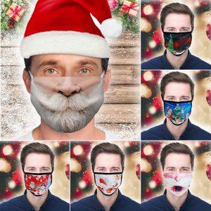 3D Printing Christmas Funny Beard Face Mask Washable Reusable Adjustable Rope