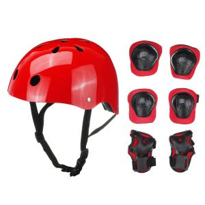 7PCS Set Boys Girls Kids Safety Skating Bike Helmet Knee Elbow Protective Gear