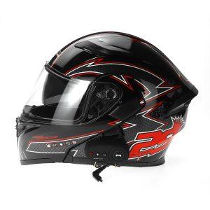 Motorcycle Helmet With BT Headset Earphone Intercom Flip Up Modular Motorbike Road Bike 1200mAh Battery