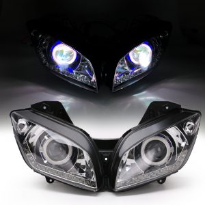 Motorcycle Headlight Assembly Angel Eyes Front Clear Headlight Headlamp For Yamaha R15