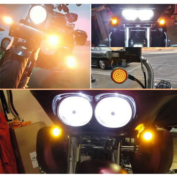 1156 48 SMD LED Insert Turn Signal Light Front Rear Bulbs For Softail Sportster Motorcycles