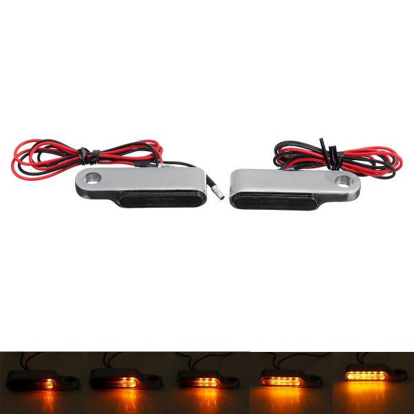 2PCS 12V 6 LED Flowing LED Motorcycle Turn Signal Indicators Blinker Light Universal Amber