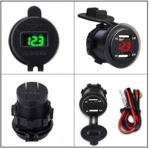 4.2A Waterproof Car 2 Port Dual USB Charger Socket Power Outlet with Voltmeter LED Light for 12-24V Car Boat Marine ATV Motorcycle