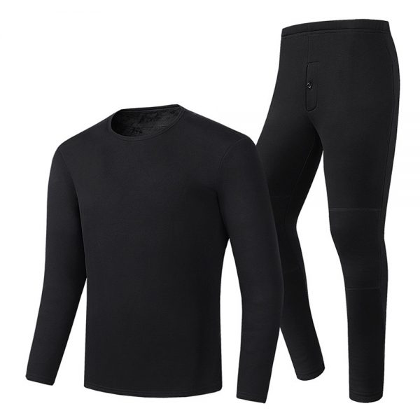 30-50 86-122 Men Women Electric Heated Underclothes Set Shirt + Trouser Velvet Lined Underwear Winter Warm Heating Clothing Thermal Outdoor Hiking Skiing Motorcycle Cycling Tops Pants Suit