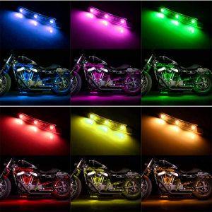 16PCS RGB bluetooth Car Motorcycle LED Light Accent Glow Neon Strip APP Control Kits