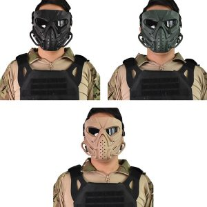 Airsoft Paintball Hunting Mask Tactical Combat Full Face Mask Motorcycle Helmet Mask Motocross Goggle Military War Game Protective Face Mask